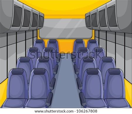 illustration of vehical seat arrangementand inside view - stock vector