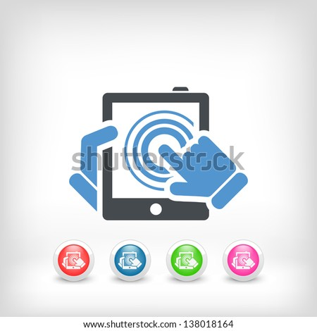 Illustration of vertical tablet touch - stock vector