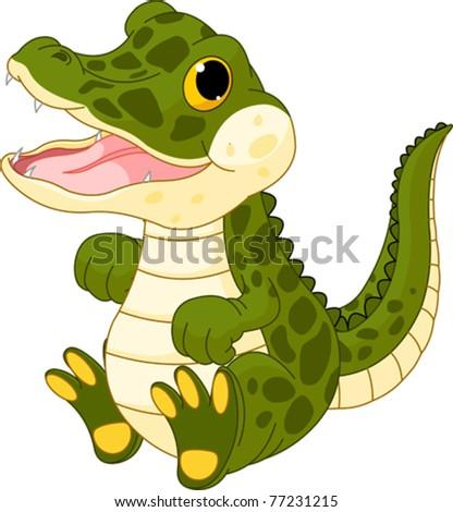 Illustration of very cute baby crocodile - stock vector