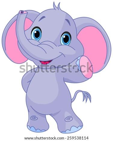 Illustration of very cute elephant - stock vector