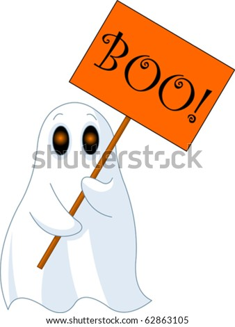Illustration of Very cute ghost with ?Boo? sign - stock vector