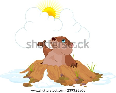 Illustration of very cute groundhog - stock vector