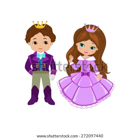 Illustration of very cute Prince and Princess - stock vector