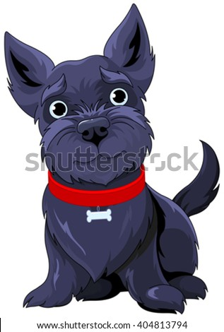 Illustration of very cute Scotch Terrier - stock vector