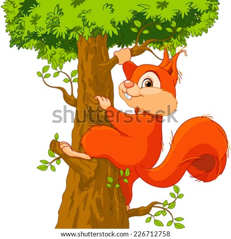 Illustration of very cute squirrel climbs a tree - stock vector