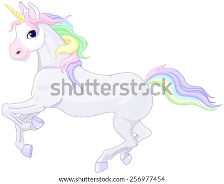 Illustration of very cute unicorn - stock vector