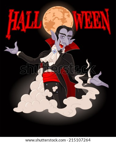 Illustration of very cute vampire on Halloween background - stock vector