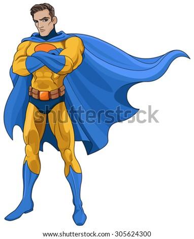 Illustration of very muscular Superhero - stock vector