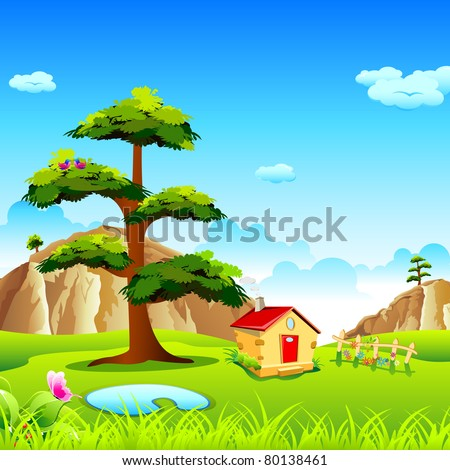 illustration of view of natural valley with hut and mountain