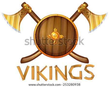 Illustration of vikings sheild and axes - stock vector