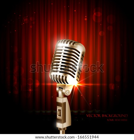 illustration of Vintage Microphone against curtain backdrop - stock vector