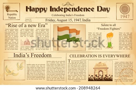 illustration of vintage newspaper for Happy Independence Day of India - stock vector