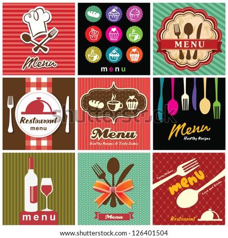 illustration of vintage retro label with restaurant menu design collection - stock vector