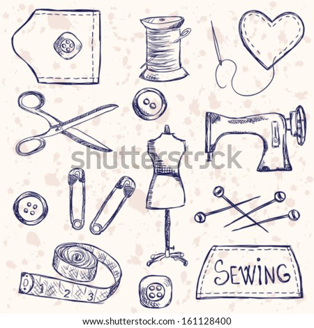 Illustration of vintage sewing accessories, doodle style - stock vector