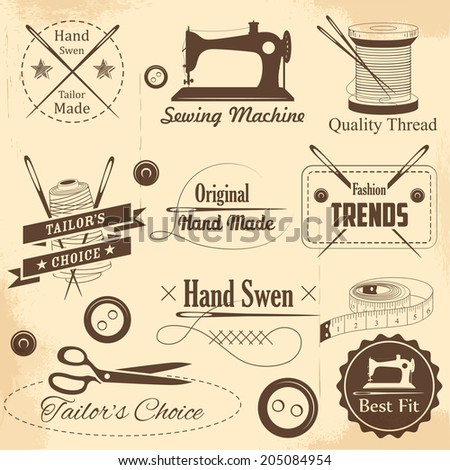 illustration of vintage style sewing and tailor label - stock vector