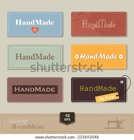 illustration of vintage style sewing and tailor label. Labels fabric with stitching