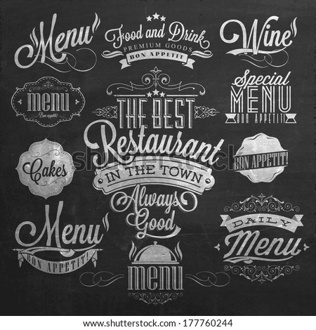 Illustration of Vintage Typographical Element for Menu On Chalkboard - stock vector