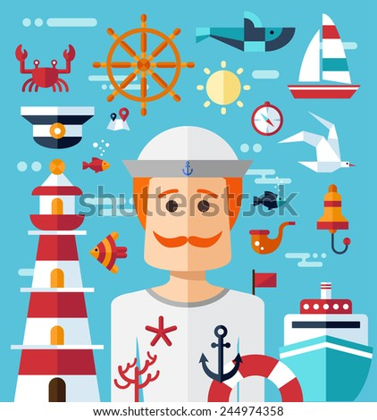 Illustration of vintage vector flat design modern nautical, marine composition - stock vector