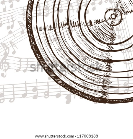 Illustration of vinyl record or compact disc and music notes - hand drawn style - stock vector