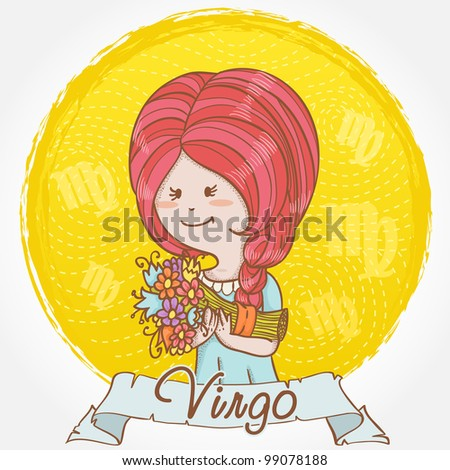 Illustration of Virgo zodiac sign in cute cartoon style as a feminine girl with braid hair and holding a bouquet of flowers
