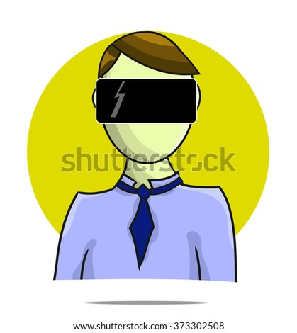 Illustration of virtual reality person with circle background - stock vector