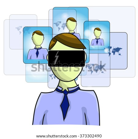 Illustration of virtual reality person with virtual friends - stock vector