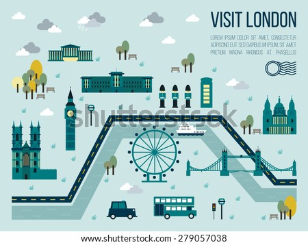 Illustration of visit london map in travel concept - stock vector