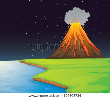 Illustration of volcano in the distance - stock vector