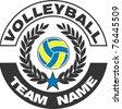 Illustration of volleyball team - stock vector