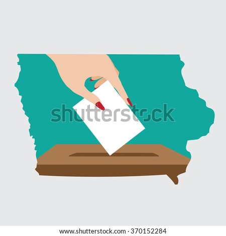 Illustration of voting in Iowa, the Buckeye State. EPS 10 vector.  - stock vector