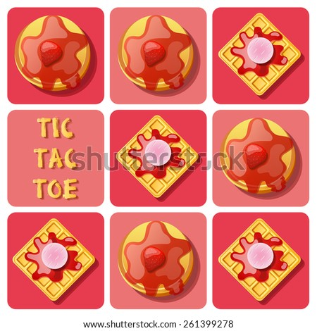 Illustration of waffle and pancake with strawberry sauce in tic-tac-toe game - stock vector