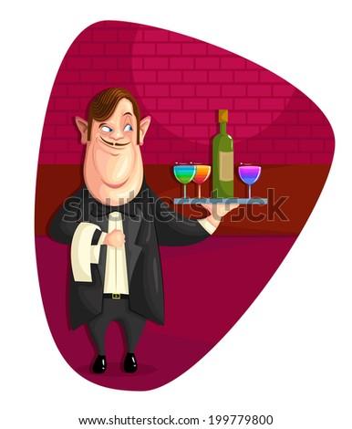 illustration of waiter serving drinks in vector - stock vector