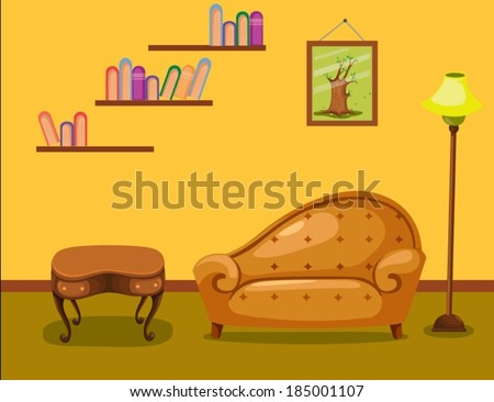 illustration of warm living room