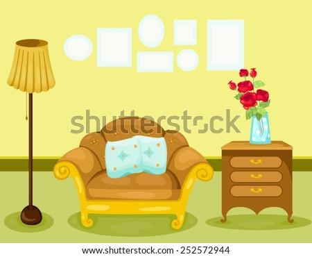 illustration of warm living room  - stock vector