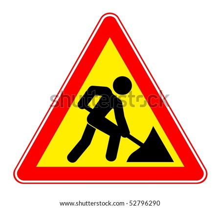 Illustration of warning sign about a roadwork. Vector