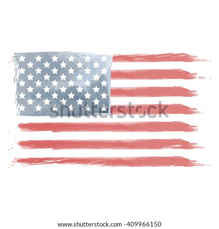 Illustration of watercolor flag of the United States. American flag vector. American flag vintage style. Watercolor and grunge American flag.  - stock vector