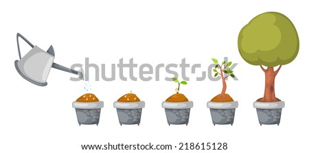 illustration of watering can with tree life cycle vector - stock vector