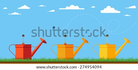 Illustration of watering cans. Flat design illustration of three watering cans for garden. Vector illustration. - stock vector