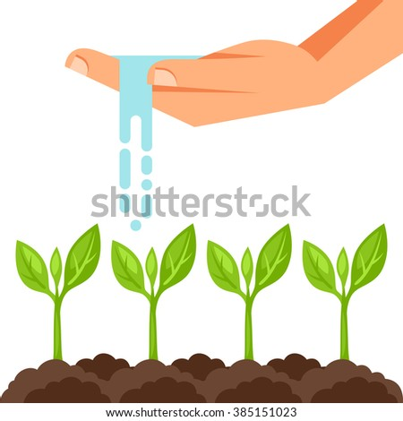 Illustration of watering plants from hand. Image for advertising booklets, banners, flayers and articles.