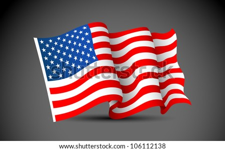 illustration of waving American Flag on dark background - stock vector