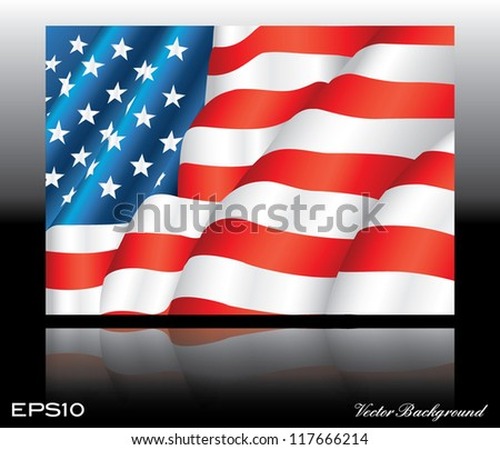 illustration of waving American Flag on dark background with mirror effect - stock vector