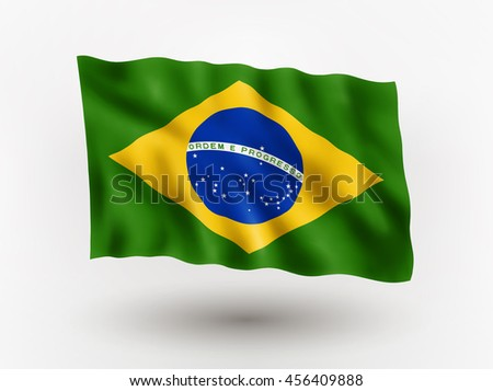 Illustration of waving flag of Brazil, isolated flag icon, EPS 10 contains transparency.