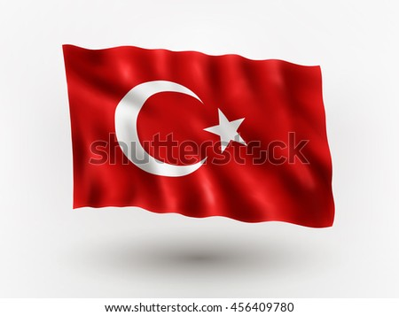 Illustration of waving flag of Turkey, isolated flag icon, EPS 10 contains transparency. - stock vector