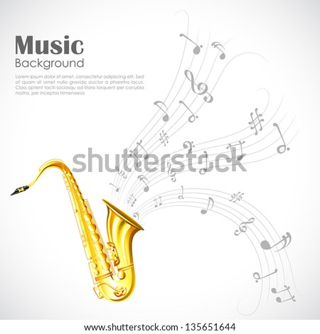 illustration of wavy music tune from saxophone - stock vector