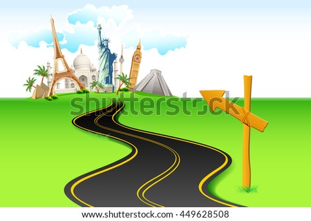 illustration of way leading to world famous monument - stock vector