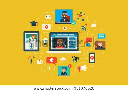 Illustration of webinar flat design concept with icons elements - stock vector