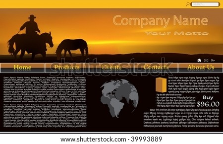 Illustration of website with wonderful horses over sunset - stock vector