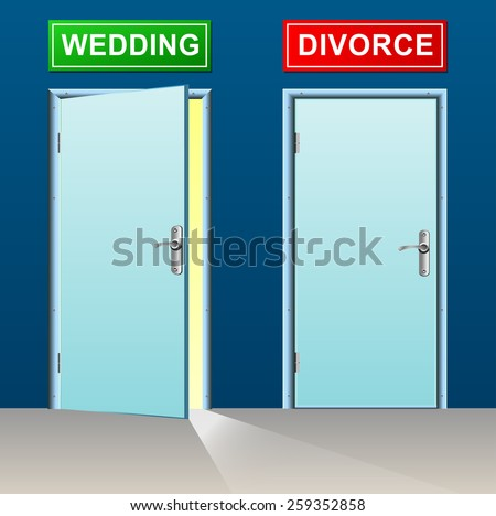 illustration of wedding and divorce doors concept