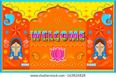 illustration of Welcome Background in Indian Truck paint style - stock vector