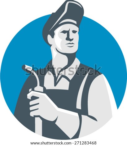 Illustration of welder worker wearing hat holding welding torch looking to the side  set inside circle on isolated background done in retro style. - stock vector